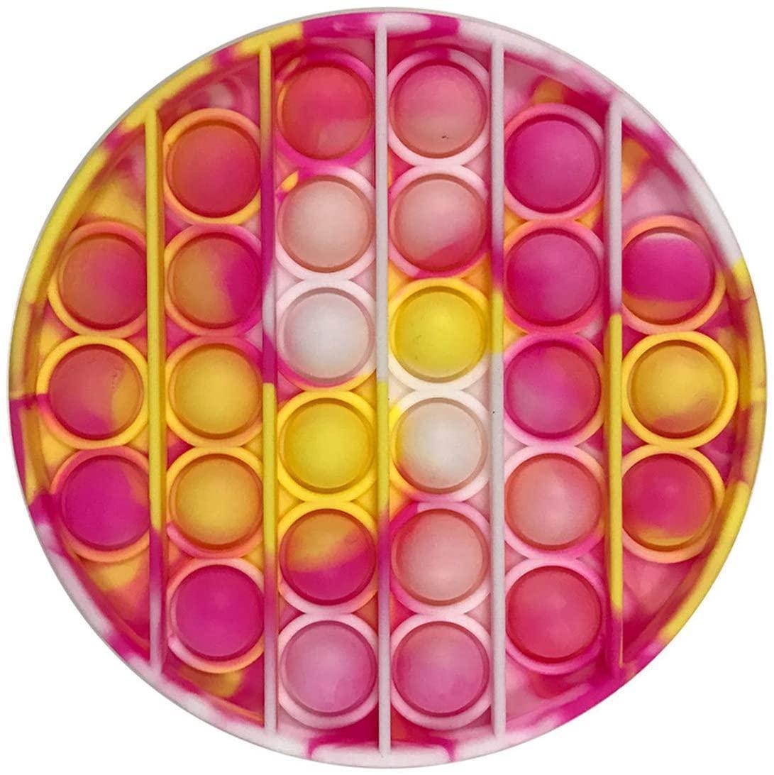 Pop It сенсорна іграшка Мармуровий коло yel-rose, діаметр 12,5 см Push Bubble Fidget Antistress Нескінченна