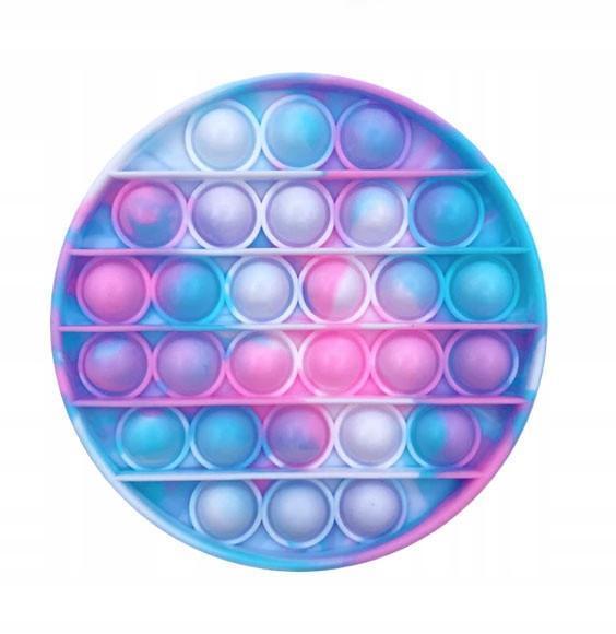 Pop It сенсорная игрушка Мраморный круг light purp-blue, диаметр 12,5см Push Bubble Fidget Antistress