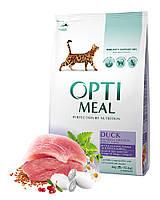 Optimeal (Оптимил) сухой корм для  кошек c уткой 4 кг (с эффектом вывода шерсти)+12 паучей в подарок!(31,05)