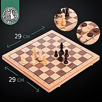 Набір ігор шахи і шашки 2 в 1 дерев'яні великі класичні Zelart 52 x 52 см Коричневий (W9052)
