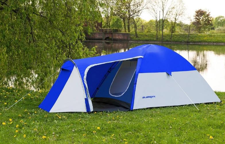 Походная туристическая палатка 4-х местная для отдыха и туризма Presto Acamper MONSUN 4 PRO синий - 3500мм