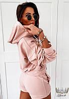 Трендовый женский прогулочный костюм с шортами и кофтой с капюшоном (Норма), фото 3