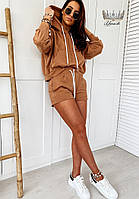 Трендовий жіночий прогулянковий костюм з шортами і кофтою з капюшоном (Норма), фото 5