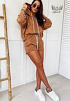 Трендовый женский прогулочный костюм с шортами и кофтой с капюшоном (Норма), фото 5
