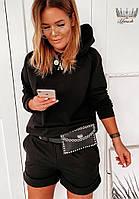 Трендовый женский прогулочный костюм с шортами и кофтой с капюшоном (Норма), фото 6