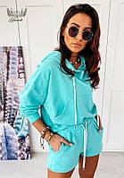 Трендовий жіночий прогулянковий костюм з шортами і кофтою з капюшоном (Норма), фото 7