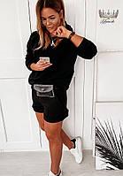 Трендовий жіночий прогулянковий костюм з шортами і кофтою з капюшоном (Норма), фото 8
