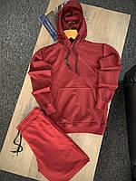 Спортивный костюм мужской бордовый Boss | Комплект худи и шорты летние ЛЮКС качества