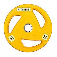 Диск обрезиненный для штанги 15 кг 50 мм VNK PRO (1 шт) желтый