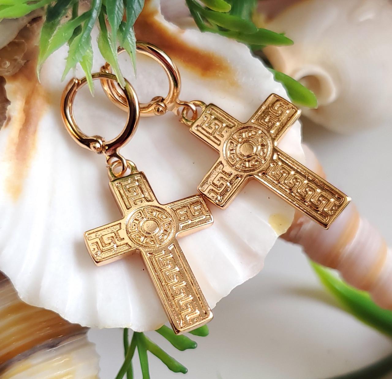 Сережки хрестики Xuping довжина 4см медичне золото позолота 18К с1238