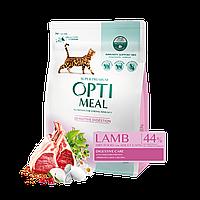 Optimeal (Оптимил) сухой корм для  кошек ягненок 4кг (с чувствительным пищеварением)+12 паучей! (до 30,05)
