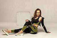 Спортивный женский костюм для фитнеса, йоги, бега 3в1 (топ+лосины+рашгард) чорно-зеленый