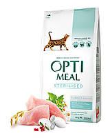 Optimeal корм для  кастрированных котов и стерилизованных кошек с индейкой и овсом 4 кг+12 паучей! до31,05