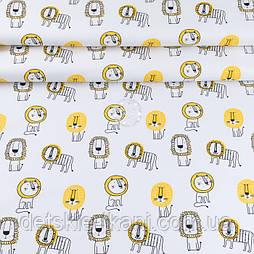 """Ранфорс шириною 240 см """"Леви жовті на білому тлі"""" (№3460)"""