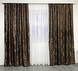 Готові жакардові штори Штори з жаккарда Жакардові штори на тасьмі Штори 150х270 Колір Шоколадний, фото 2