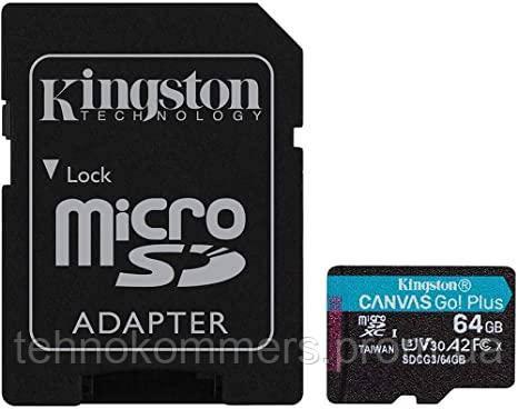 Карта пам'яті Kingston Class 10 V30 W-80MB/s R-170MB/s +SD-адаптер, фото 2