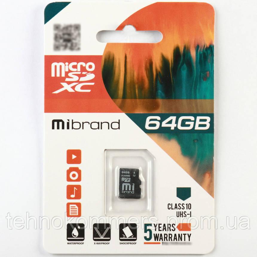Карта пам'яті Mibrand microSDXC 64GB Class 10 UHS-I Без адаптера, фото 2