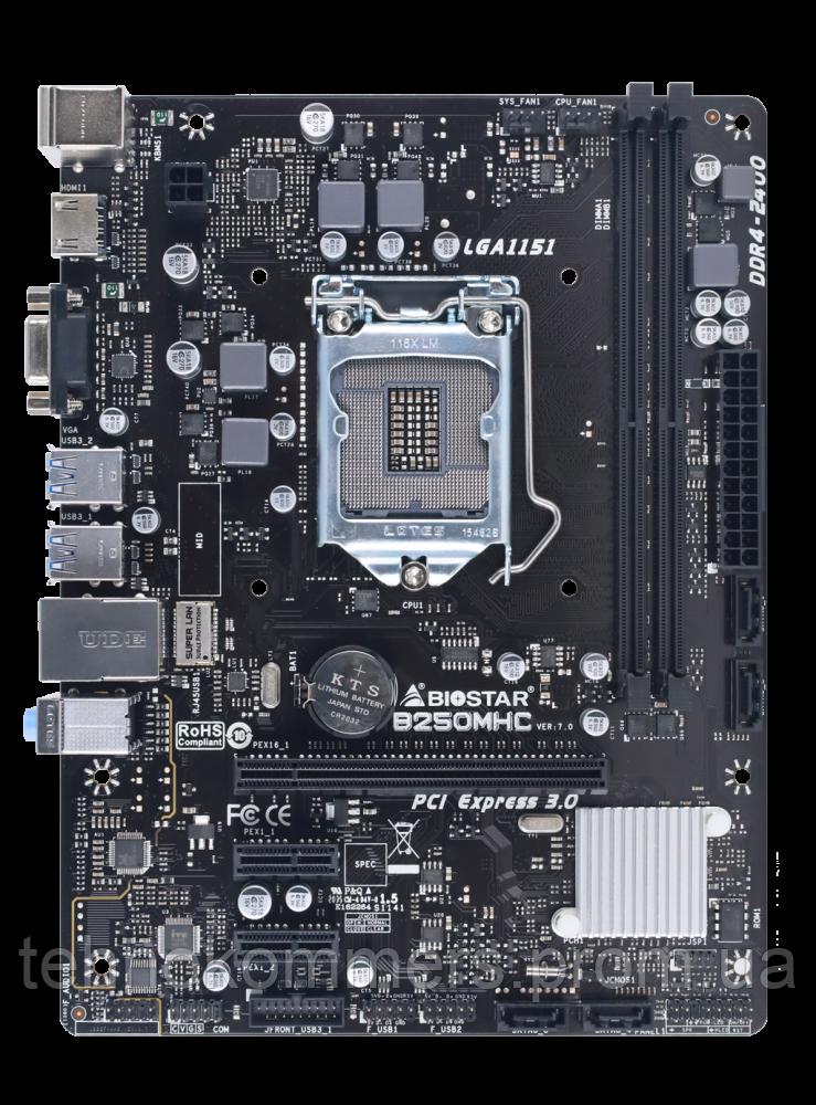 Материнська плата Biostar LGA1151 Intel B250 MicroATX 1 x PCI-E 3.0 x16 2 x DDR4 DIMM; Кількість каналів 2