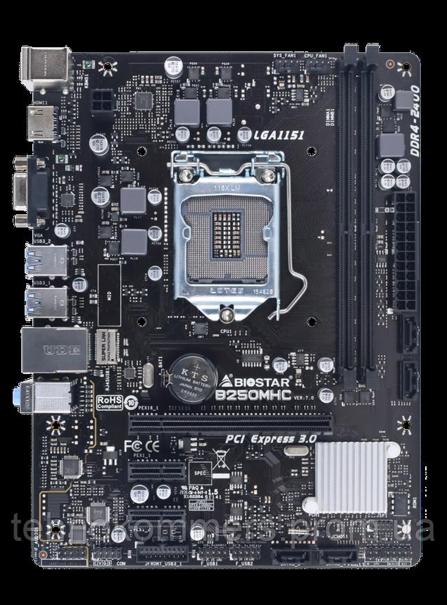 Материнська плата Biostar LGA1151 Intel B250 MicroATX 1 x PCI-E 3.0 x16 2 x DDR4 DIMM; Кількість каналів 2, фото 2