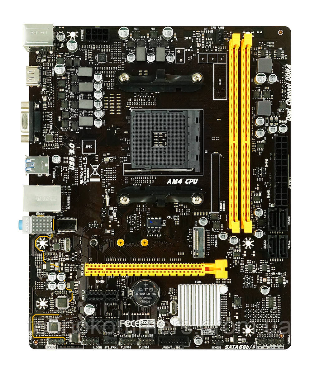 Материнська плата Biostar Socket AM4 AMD B450 MicroATX 1 x PCI-E 3.0 x16 2 x DDR4 DIMM; Кількість каналів 2