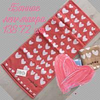 Рушник банний, льон+махра, 75х135 см, сердечка, асорті, 30031267