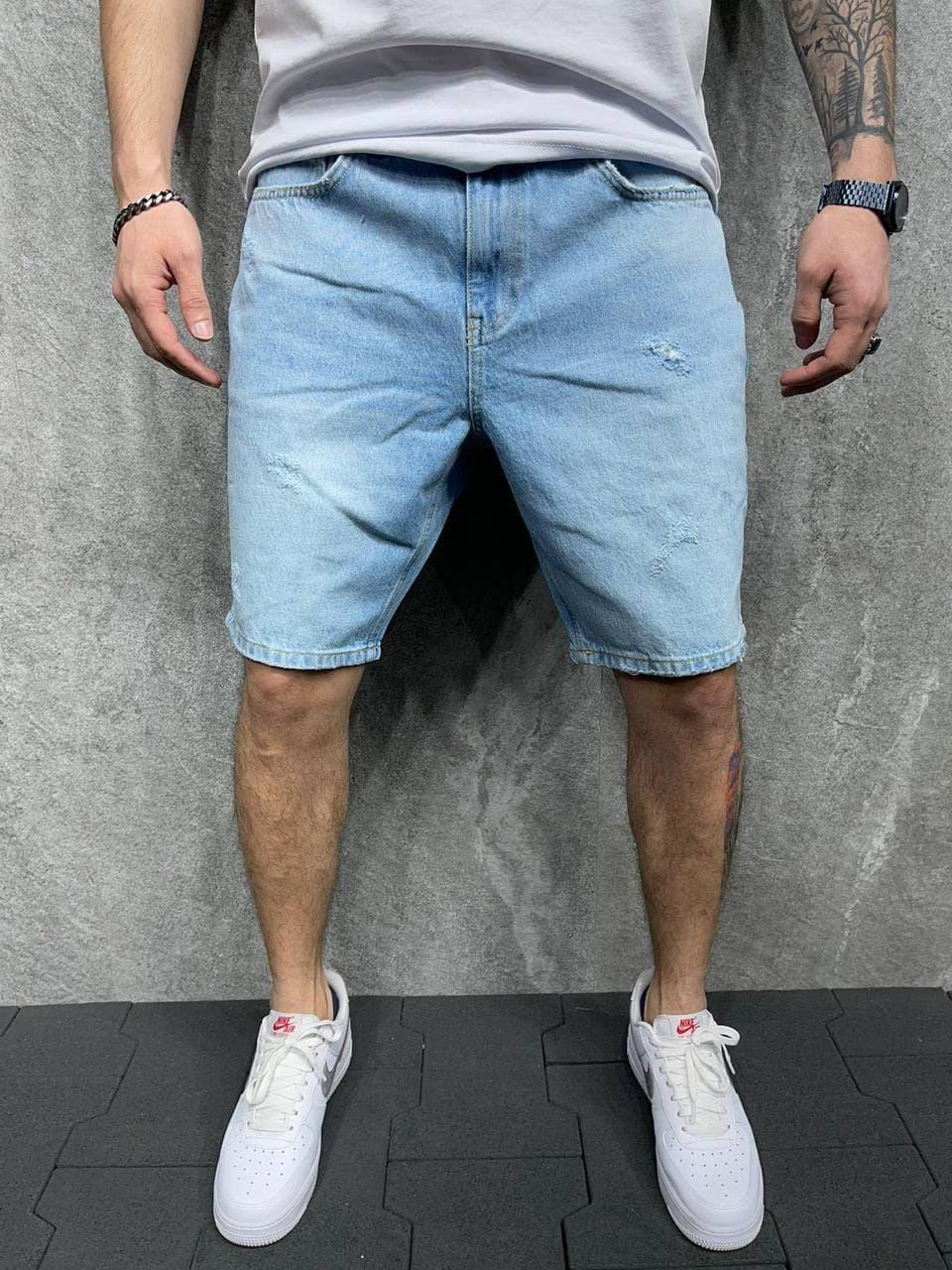 Мужские джинсовые шорты голубые Мом 2Y Premium АТ8102