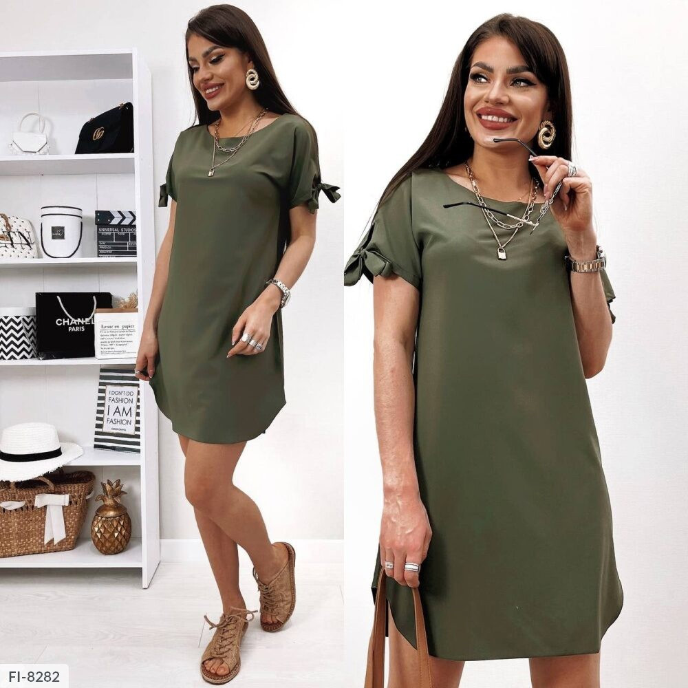 Стильное прямое платье женское летнее короткое с коротким рукавом из легкой ткани р-ры 42-48 арт.176