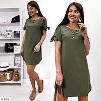 Стильное прямое платье женское летнее короткое с коротким рукавом из легкой ткани р-ры 42-48 арт.176, фото 1