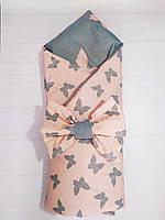 Хлопковый летний конверт-одеяло на выписку со съемным утеплителем