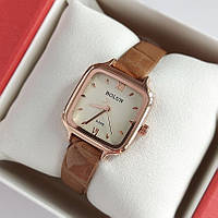 Жіночі квадратні наручний годинник Bolun золотистого кольору на світло-коричневому ремінці - код 1997