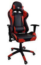 Игровое геймерское компьютерное кресло с подлокотниками и высокой спинкой черно-красное 7F GAMER RED