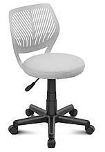 Офисный стул на колесиках без подлокотников сиденье круглое Smart пластик сетка Белый