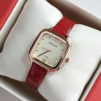 Жіночі квадратні наручний годинник Bolun золотистого кольору на червоному ремінці - код 1998