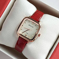 Жіночі квадратні наручний годинник Bolun золотистого кольору на червоному ремінці - код 1998, фото 1