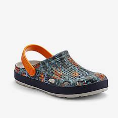 Клоги (сабо) LINDO PRINTED, мужские шлепанцы Coqui (светло-голубой / синий / оранжевый)