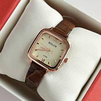 Жіночі квадратні наручний годинник Bolun золотистого кольору з коричневим ремінцем - код 2000, фото 1
