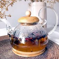 Чайник-заварник Скляний З Бамбукової Кришкою на підставці 700мл