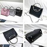 Женская классическая сумочка с круглыми ручками на цепочке черная, фото 4