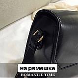 Женская классическая квадратная сумочка на ремешке 5223/14 черная, фото 2