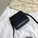 Женская классическая квадратная сумочка на ремешке 5223/14 черная, фото 3