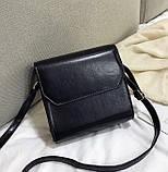 Женская классическая квадратная сумочка на ремешке 5223/14 черная, фото 5