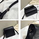 Женская классическая квадратная сумочка на ремешке 5223/14 черная, фото 6