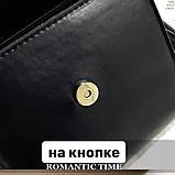Женская классическая квадратная сумочка на ремешке 5223/14 черная, фото 8