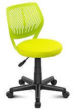 Стул офисный на колесиках без подлокотников сиденье круглое Smart пластик сетка Салатовый