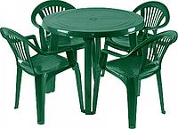 """Характеристики Комплект садовой мебели Алеана стол """"Круг"""" и 4 стула """"Луч"""" Зеленый."""