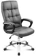Кресло стул офисное с подлокотниками колесиками и откидной спинкой Manager екокожа Серый