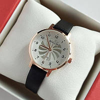 Женские кварцевые наручные часы Bolun золотистого цвета с черным ремешком - код 2004, фото 1