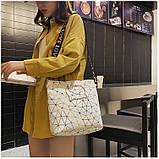 Женская классическая большая сумка на ремне через плечо белая, фото 2