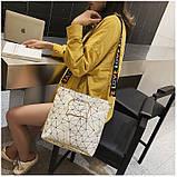 Женская классическая большая сумка на ремне через плечо белая, фото 5