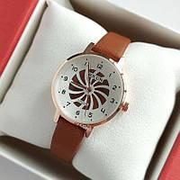 Жіночі кварцові наручні годинники Bolun золотистого кольору з коричневим ремінцем - 2005 код, фото 1
